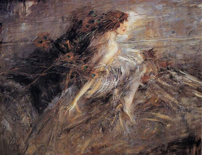 Portrait of the Marquise with Peacock Pens by Giovanni Boldini, 1914 Galleria d'Arte Moderna, Rome