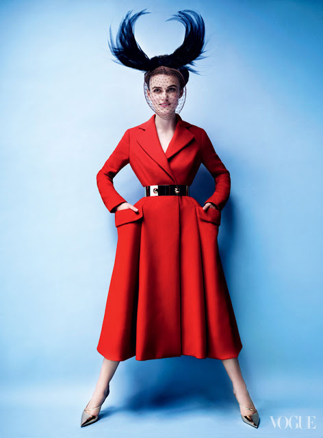 """Actress Keira Knightly models Simons version of the Dior """"Bar"""" Suit in the October 2012 issue of Vogue magazine. In direct contrast to the theatrical aesthetic of Galliano, Raf Simons, the current designer for the house, represents a fresh take on Dior's legacy by combining a modern minimalist aesthetic while maintaining Dior's signature structural finesse and integrity."""