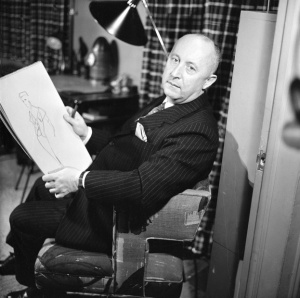 Christian Dior as featured in a CBS celebrity interview program entitled 'Person to Person,' November 7, 1955.