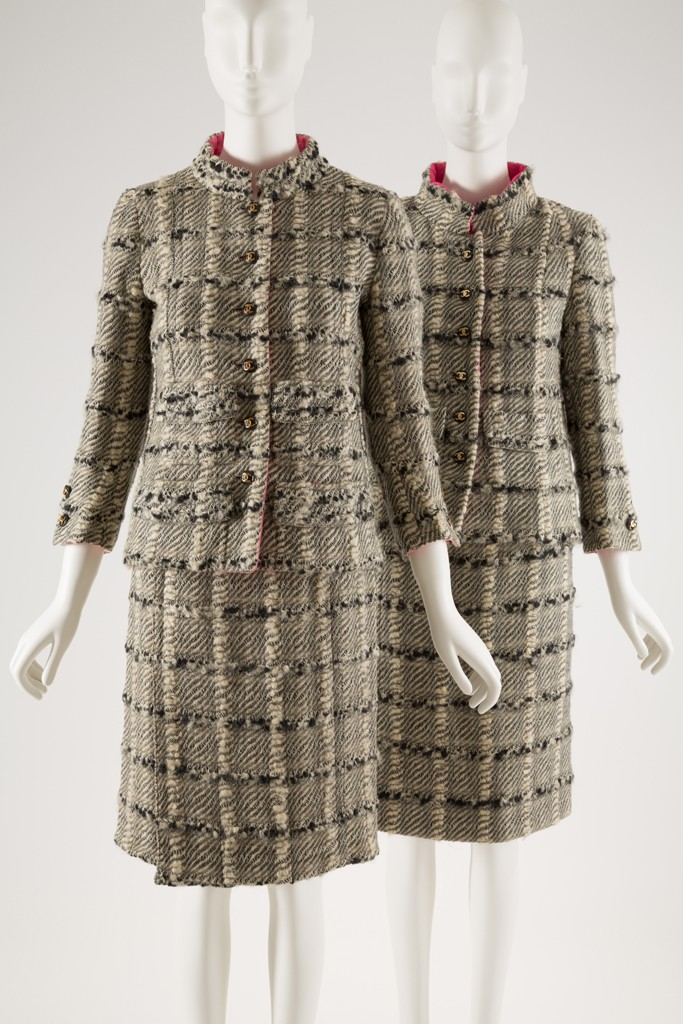 """Left: Gabrielle """"Coco"""" Chanel, day suit, wool bouclé, 1966, France Right: Licensed copy of a Chanel, day suit, wool bouclé, c. 1967, USA"""