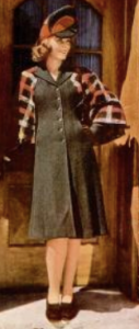 A dress typical of 1940s war-era fashion with its shortened hem and minimal use of fabric, featured in LIFE Nov 18, 1940.