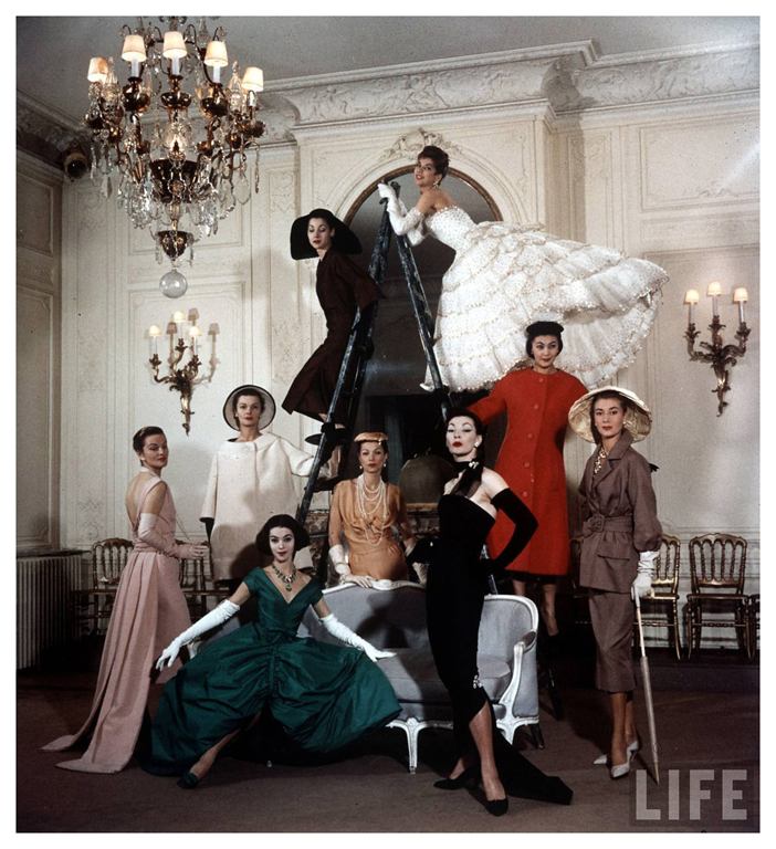 """""""Anniversary Highlights"""" featured in a March 4, 1957 LIFE magazine article  celebrating ten years of Dior. Sadly, Dior would die of a heart attack only seven months later."""