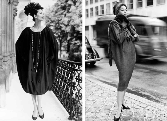 "Givenchy debuted his shapeless ""Sack"" dress in 1957, the same year that Balenciaga presented a similar silhouette. The design evolved out of the ""Shirt Dress"" featured at left and was largely copied by manufactures, signifying a shift away from the highly-structured silhouettes that dominated 1950s fashion. Image via Givenchy.com"