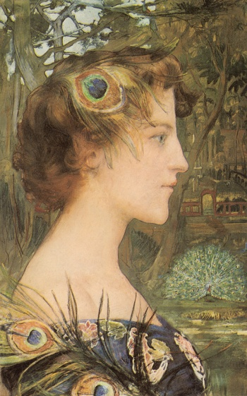 "Profile with Peacock by Edgar Maxence, cir. 1896. Private Collection. Image via Artstor.org. Like other Symbolist painters of the day, Maxence employs the peacock in both a literal and a figurative sense. By depicting the peacock feather as a fashionable accessory, he is also alluding to the bird's symbolic associations with pride and vanity. As the displaying peacock in the background demonstrates, the bird struts and shows off in an effort to find a mate.  ""Peacocking"" was used to describe men, and occasionally women, who were observed to do the same."