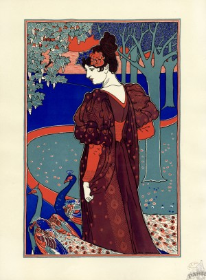 La Femme au Paon, lithograph by Louis Rhead, featured in  featured in the magazine L'Estampe Modern, July 1897. Image via The Bridgeman Art Library.