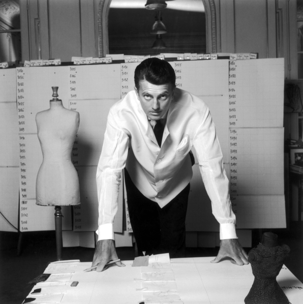 Hubert de Givenchy in his studio, 1960. Image via Givenchy.com