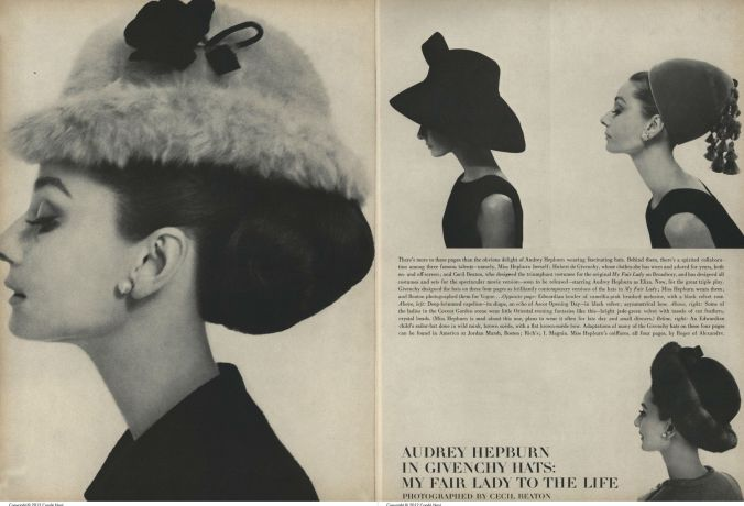 Givenchy was known for his fun and creative hats. Here, some examples are modeled by Givenchy muse Audrey Hepburn in the August 15, 1964 issue of Vogue.