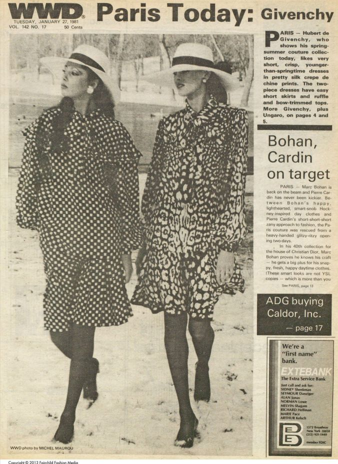 Givenchy designs featured in Women's Wear Daily, January 27, 1981, pg 1.