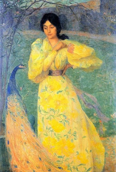 Young Girl with Peacock by Edmond Aman-Jean, 1895. Image via wikipedia.org