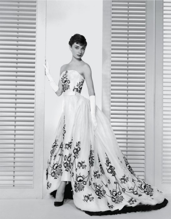 Audrey Hepburn in the film Sabrina wearing a Givenchy designed gown, 1953. Image via Paramount Pictures.