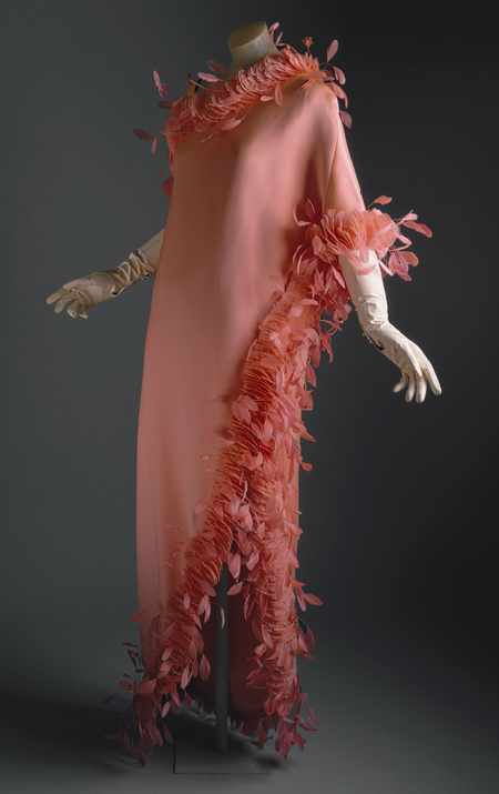 Givenchy evening gown, ca. 1968, Salmon-colored silk with feathers, in the collection at the Metropolitan Museum of Art.