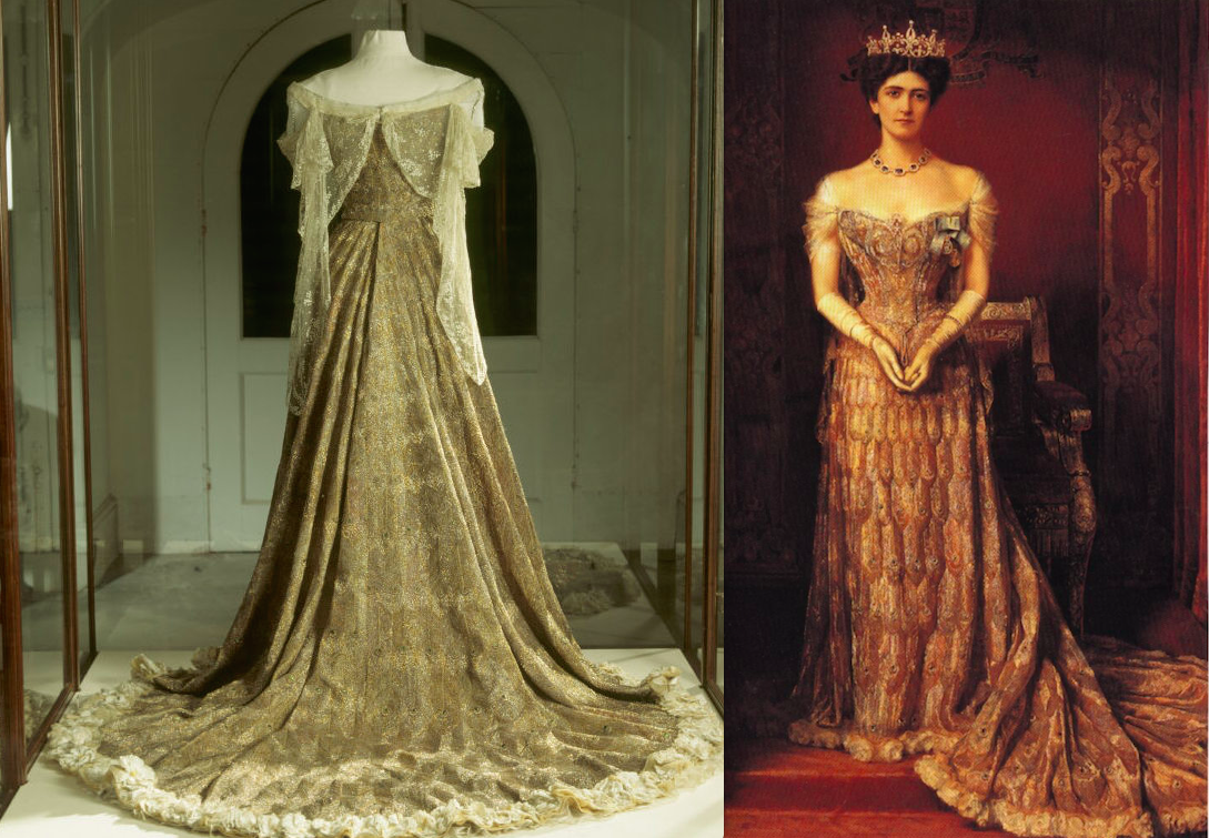 Ceremonial dress by the House of Worth worn by Lady Curzon, painted at  right by