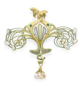 Brooch by Georges Fouquet, 18k gold, enamel, opal, garnet, pearl, circa 1900, Musée des Arts Décoratifs