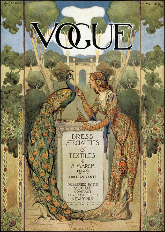 March 1909 cover of Vogue magazine illustrated by  J. Allen St. John