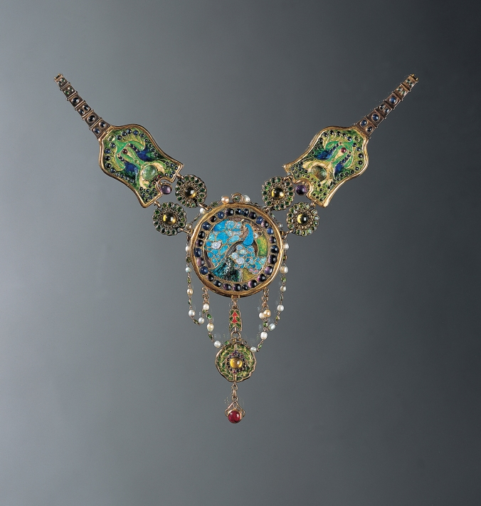 Necklace by Louis Comfort Tiffany for Tiffany & Co., Enamel, opal, amethyst, sapphire, demantoid  garnets, rubies, and emeralds, 1905-1906, Charles Hosmer Morse Museum of American Art,