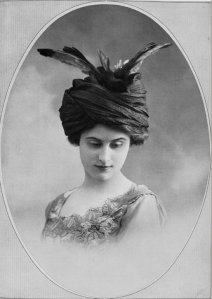 A feathered hat by the prestigious milliner Alphonsine featured in the June, 1910 issue of Les Modes.