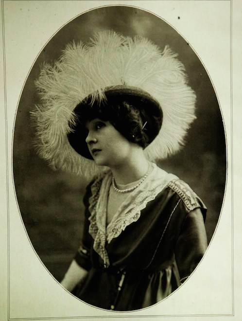 Hat by Marie Louise featured in the June 1912 issue of Les Modes. The fad for large hats using great expansive of feathers was at its height during the years from 1909 to 1912.