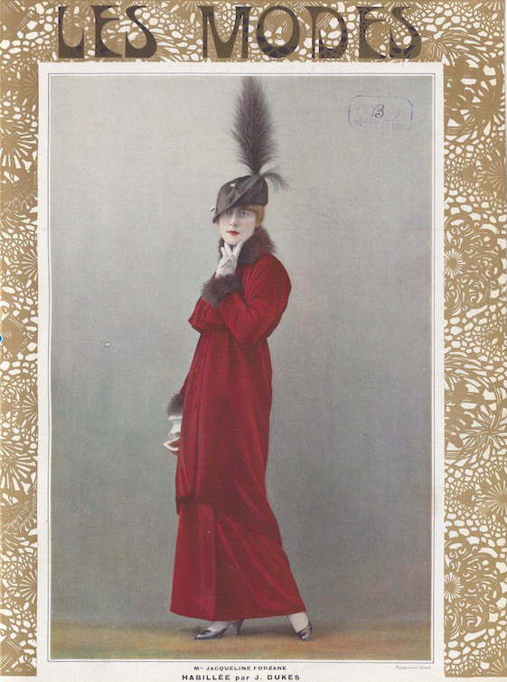 Hat worn by the actress Forazane in the March 1913 issue of Les Modes. By 1913, the fad for wide hats had given way to narrow hats with a vertical emphasis. While feathers were still used, they were reduced to a decorative flourish.