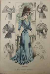 This fussy, detailed illustration was typical of the medium at the time. La Moda Elegante, 1908.