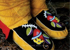 Beaded moccasins by Métis artisan Lisa Shepherd.