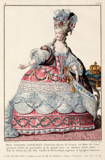 A late 18th century fashion plate by artist Claude-Louis Desrais illustrates the expansive, elaborately decorated styles in fashion under the reign of Marie Antoinette, as worn by the Queen herself. Image from Museum of Fine Arts Boston.